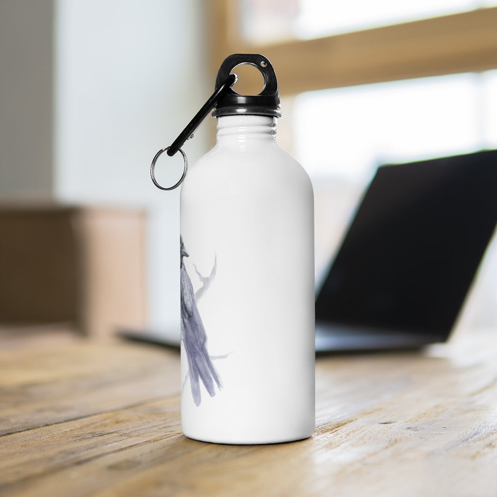 Corvid Gray Bird Perched - Stainless Steel Water Bottle