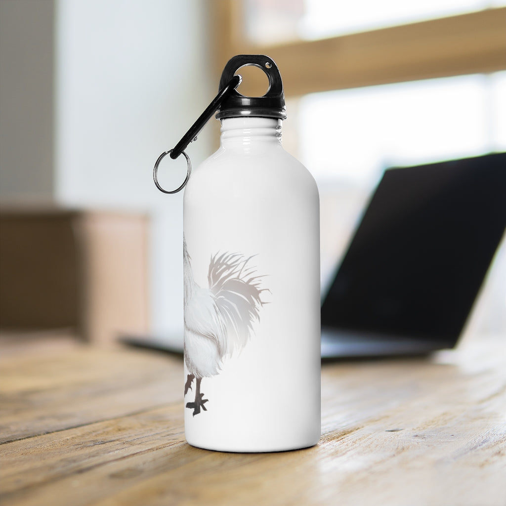 Rooster Strut (White) - Stainless Steel Water Bottle