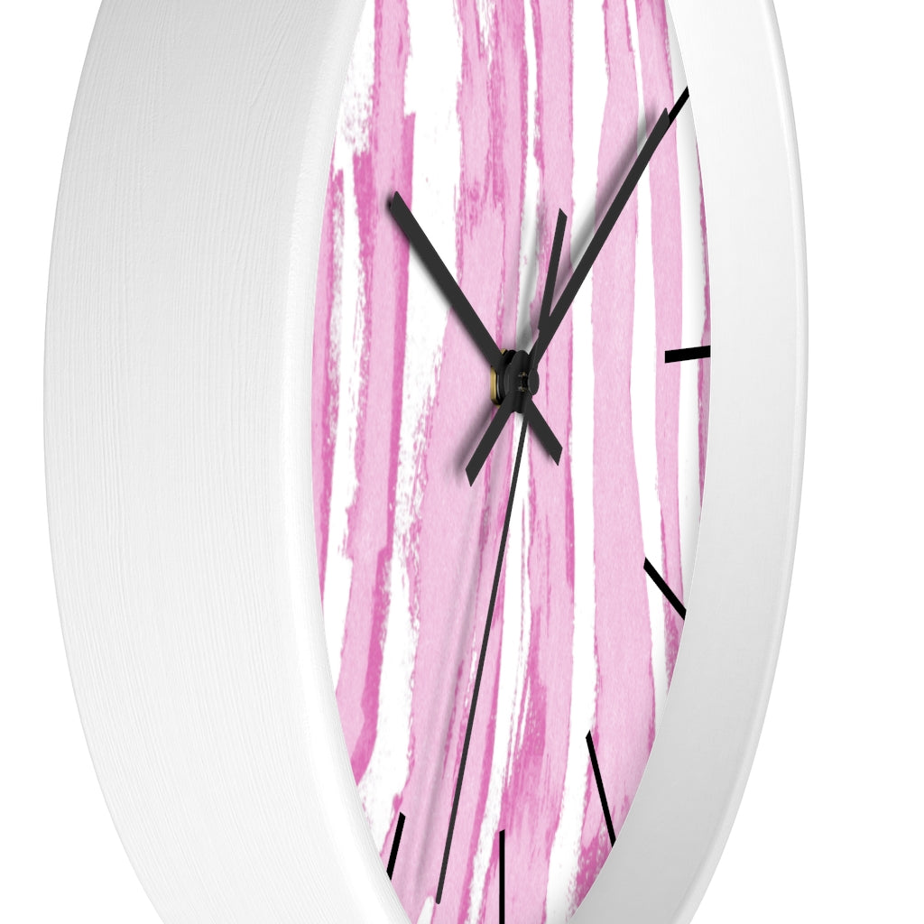 Zebra Stripes (Pink and White) - Wall clock