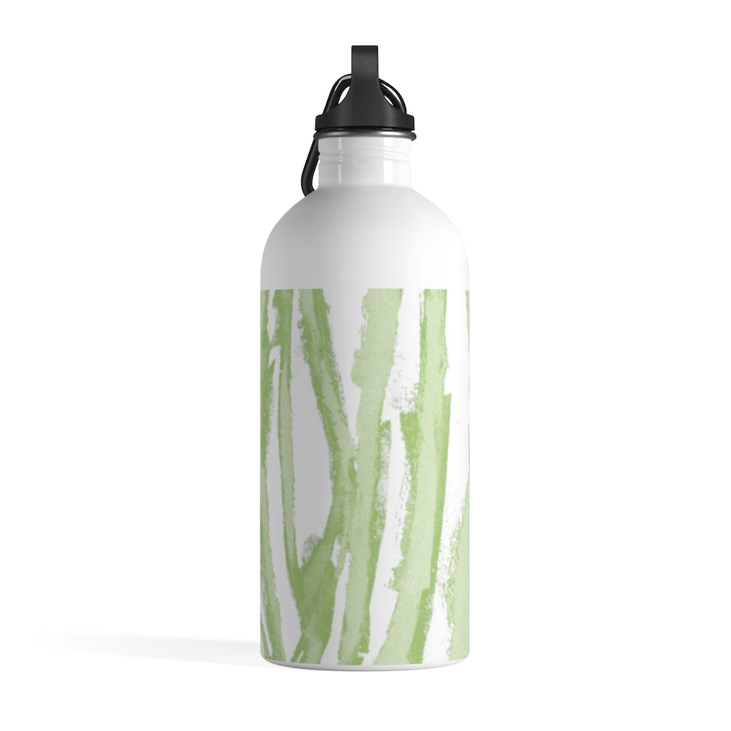 Zebra Stripes (Green and White) - Stainless Steel Water Bottle