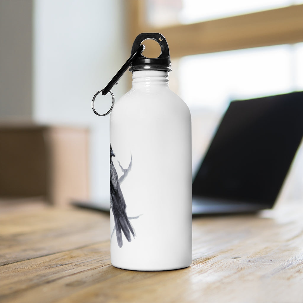 Corvid Black Bird Perched - Stainless Steel Water Bottle