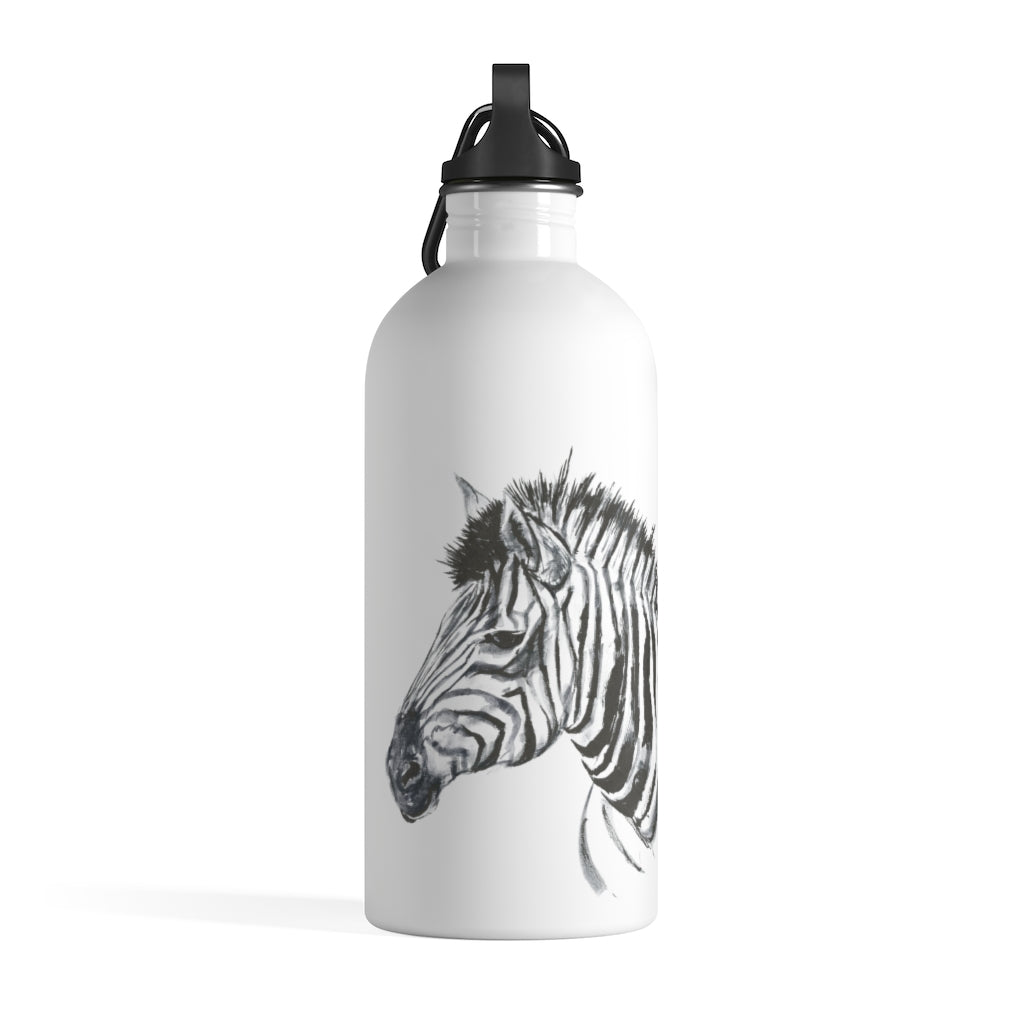 Zebra Ink Brush Painting - Stainless Steel Water Bottle