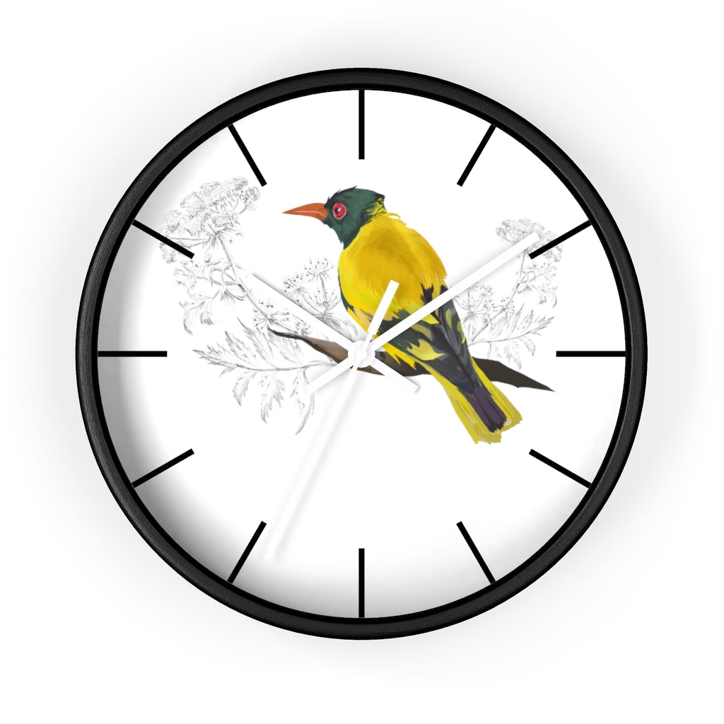 Black Hooded Oriole - Wall clock