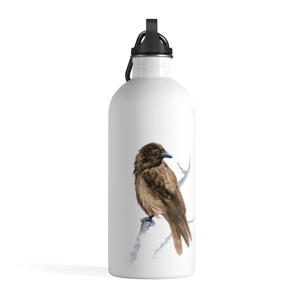 Corvid Brown Bird Perched - Stainless Steel Water Bottle