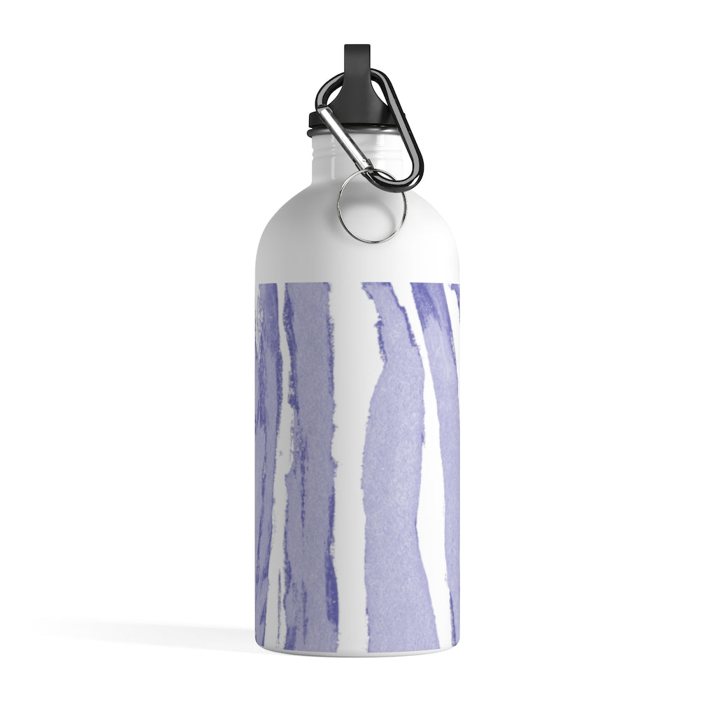 Zebra Stripes (Lavender and White) - Stainless Steel Water Bottle