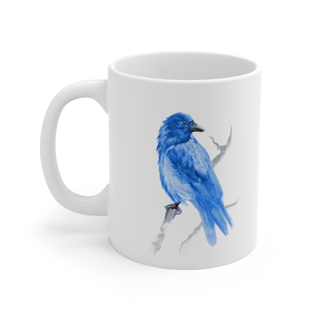 Corvid Blue Bird Perched - Mug 11oz
