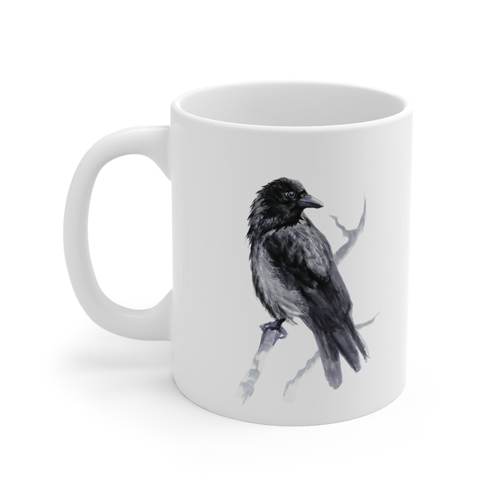 Corvid Black Bird Perched - Mug 11oz