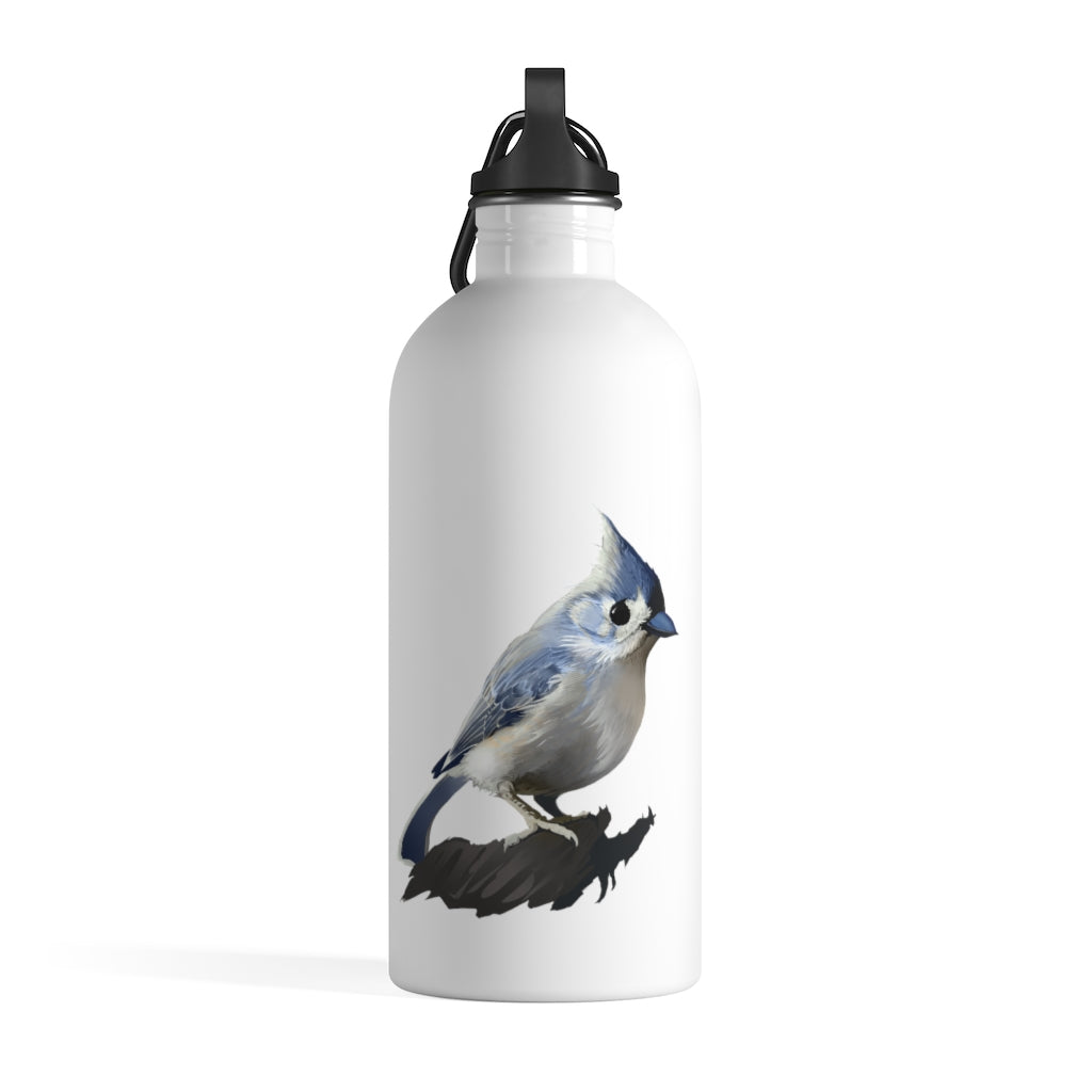 Bashful Tufted Titmouse - Stainless Steel Water Bottle