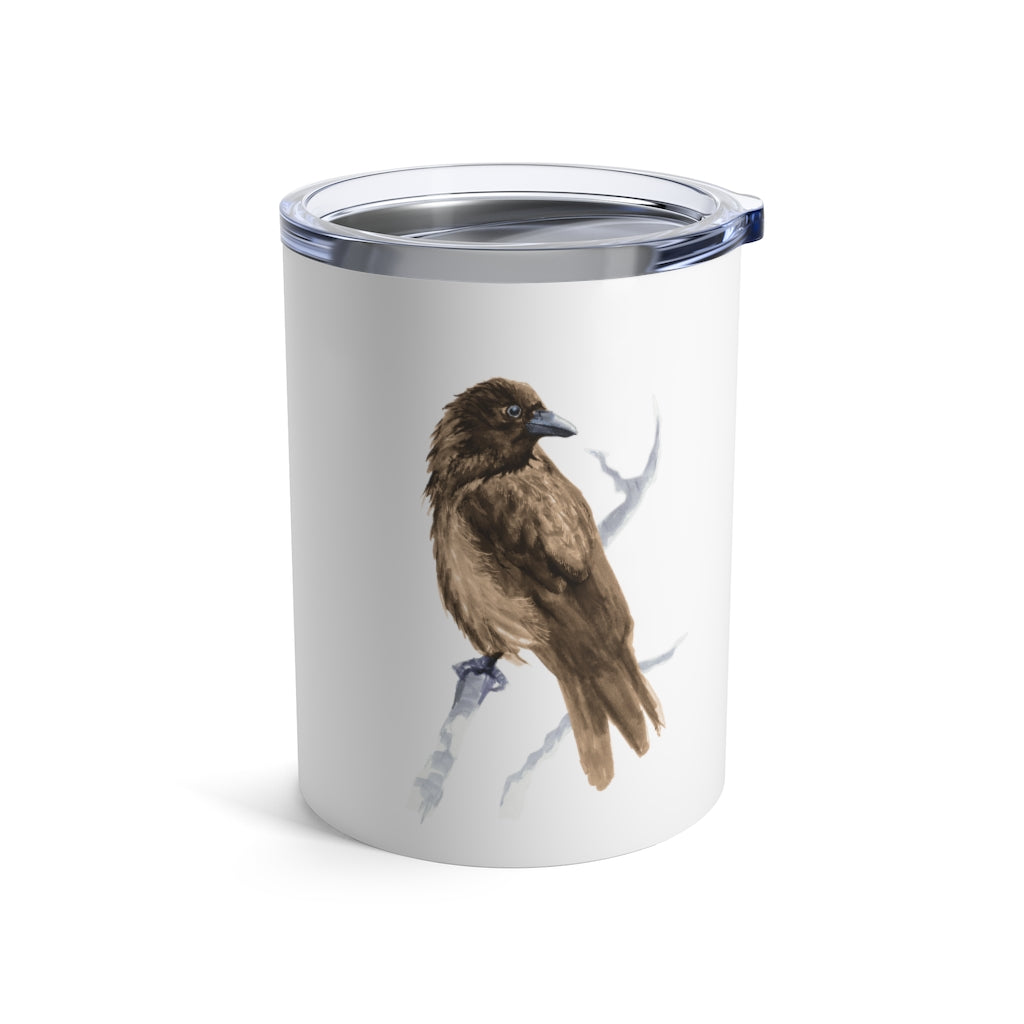Corvid Brown Bird Perched - Tumbler 10oz