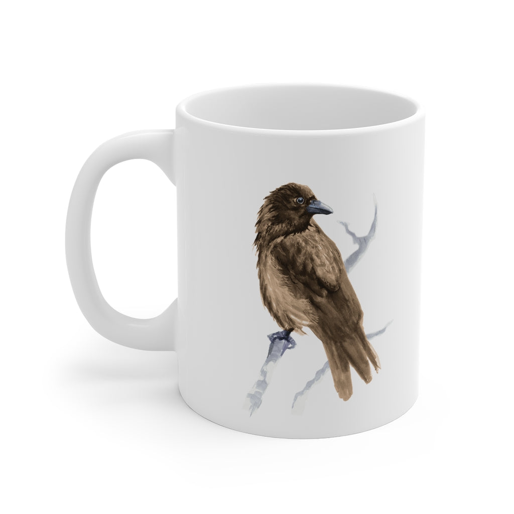 Corvid Brown Bird Perched - Mug 11oz