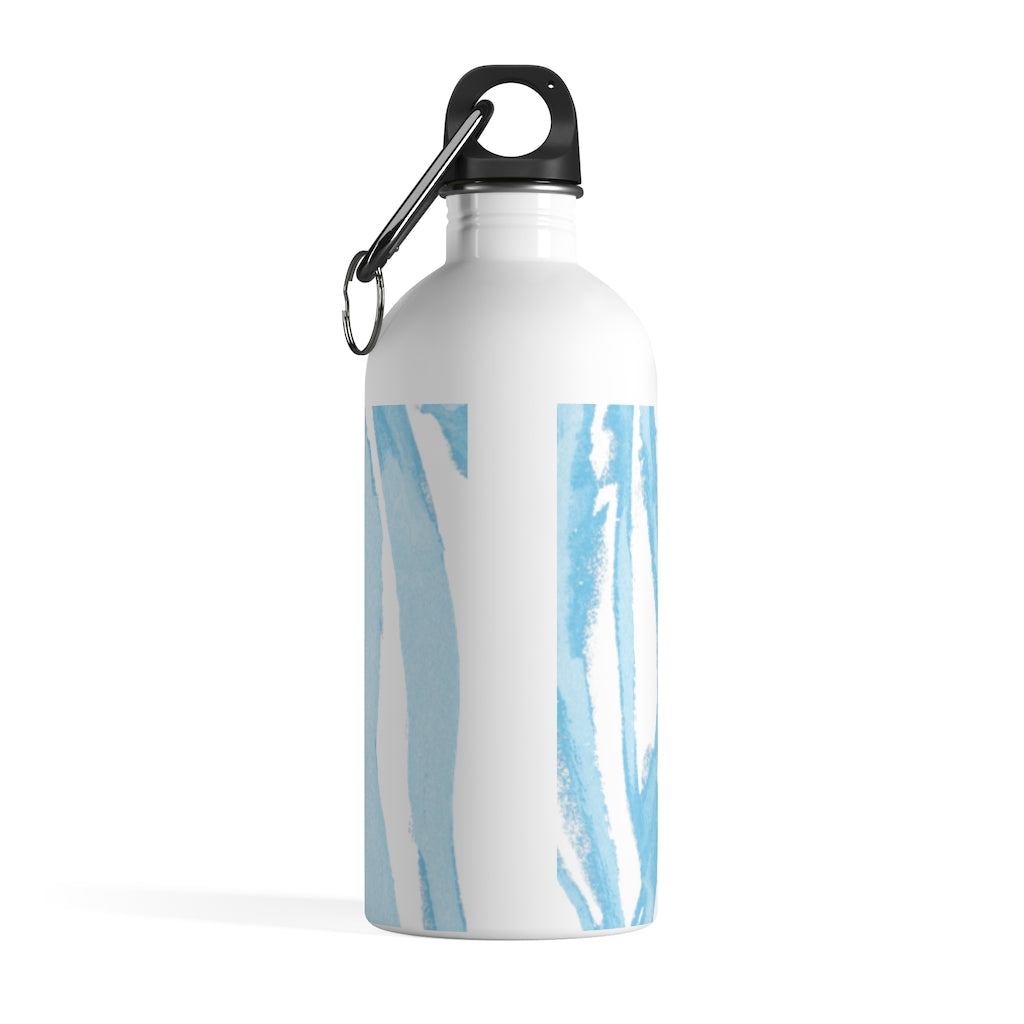 Zebra Stripes (Blue and White) - Stainless Steel Water Bottle