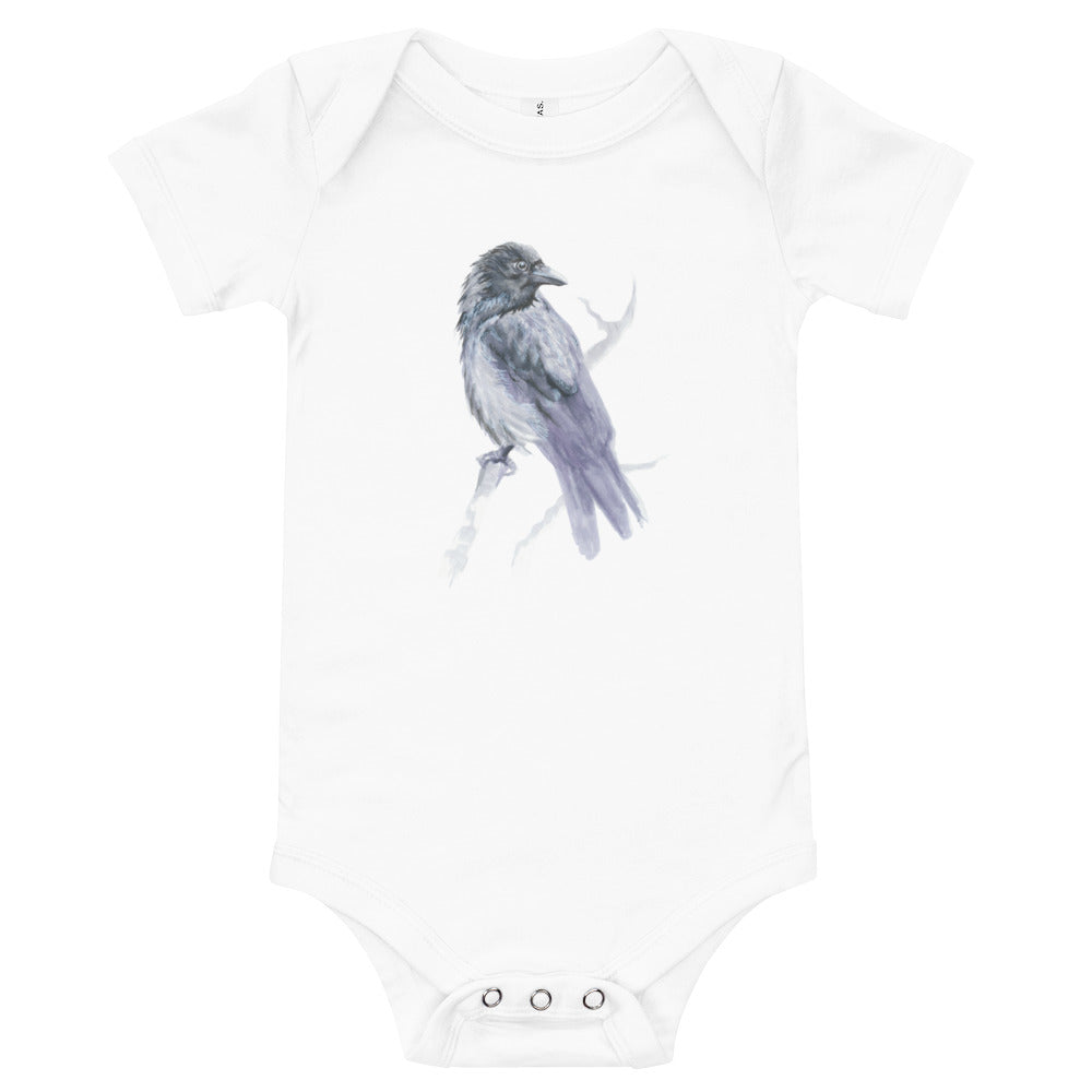 Corvid Gray Bird Perched - Baby Short Sleeve One Piece