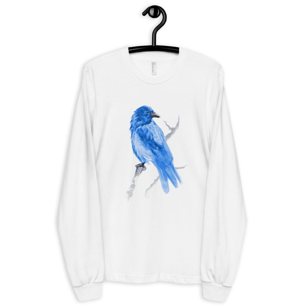 Corvid Blue Bird Perched - Long sleeve t-shirt