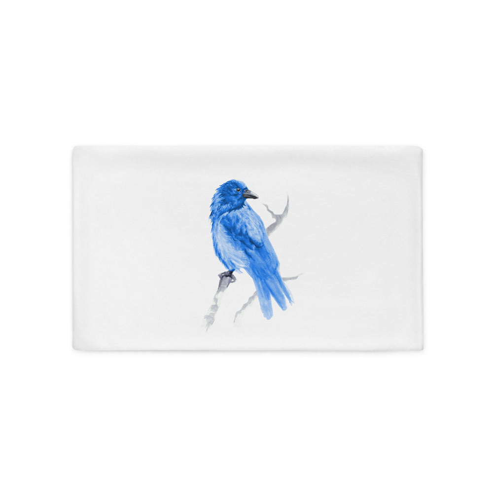 Corvid Blue Bird Perched - Pillow Case