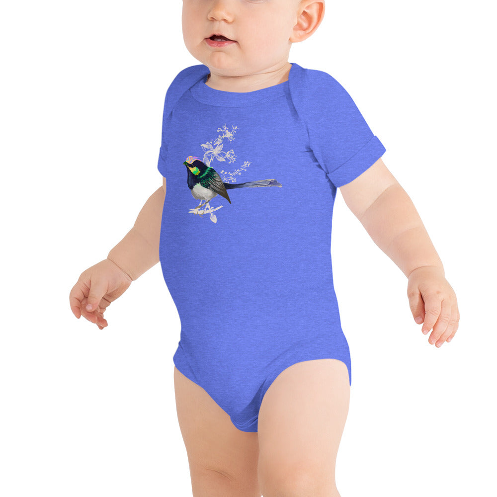 Forest Wren Green Bird - Baby Short Sleeve One Piece