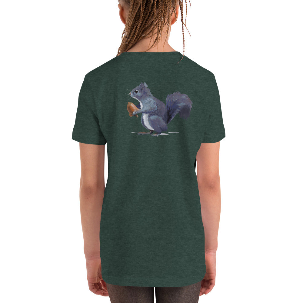 Squirrel (Gray) - Youth Short Sleeve T-Shirt