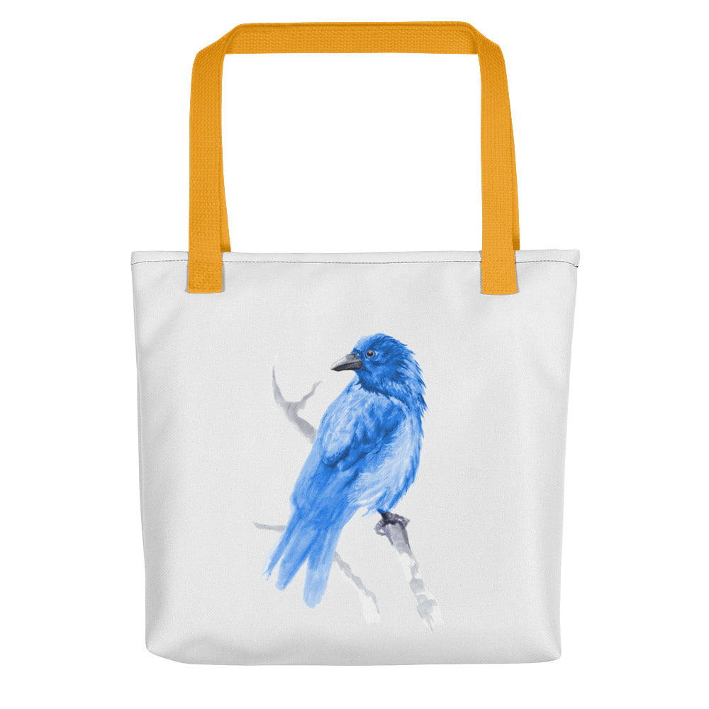 Corvid Blue Bird Perched - Tote Bag