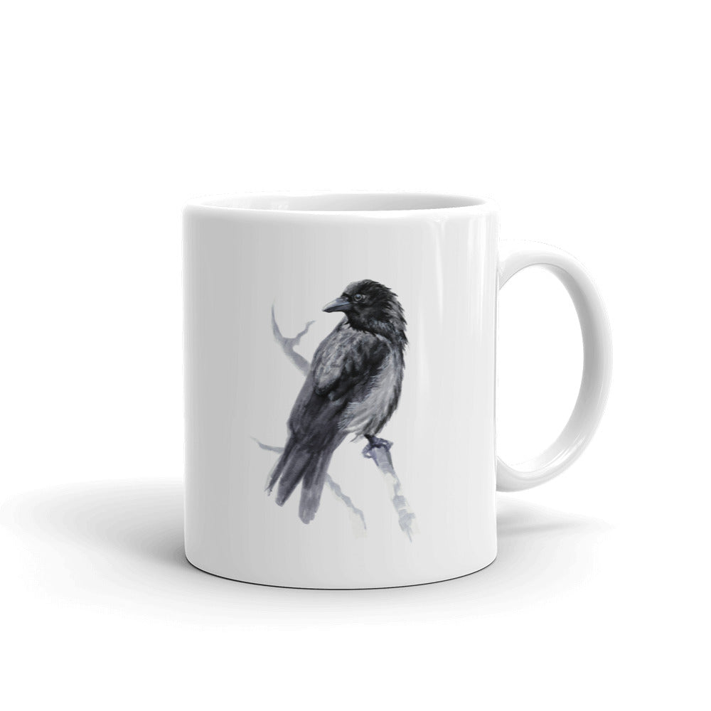 Corvid Black Bird Perched - Mug