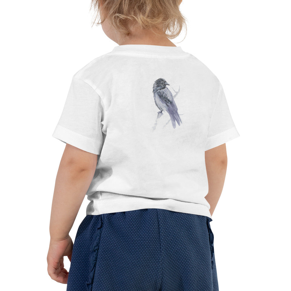 Corvid Gray Bird Perched - Toddler Short Sleeve Tee