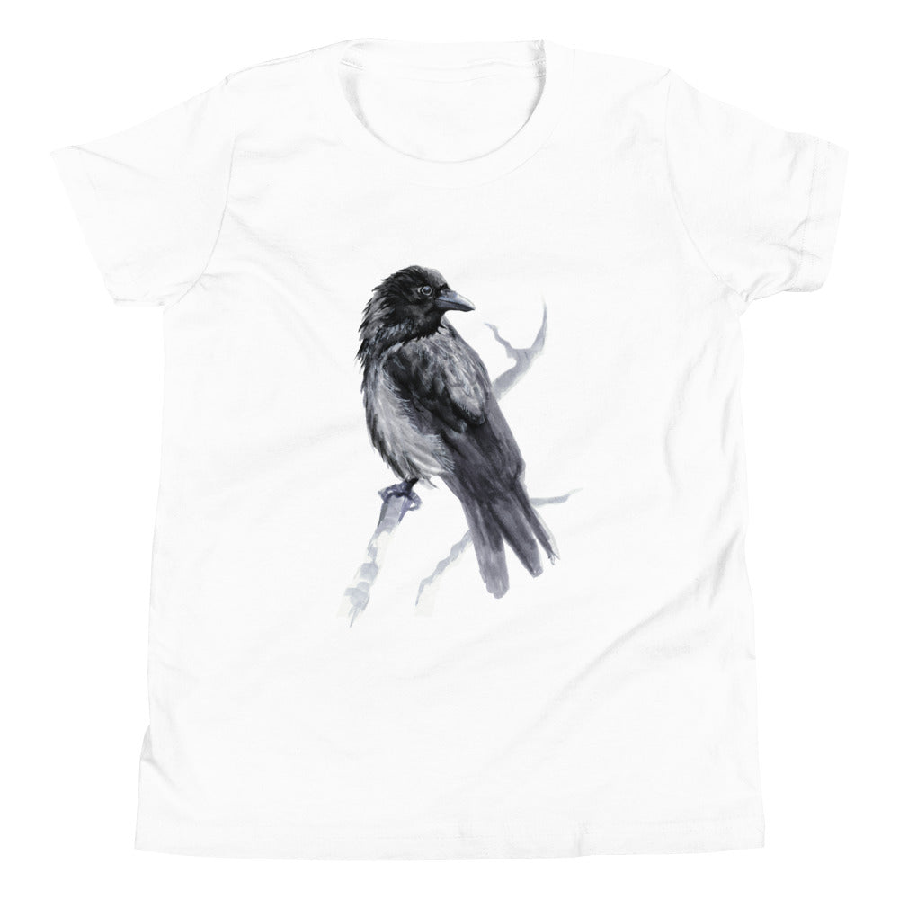 Corvid Black Bird Perched - Youth Short Sleeve T-Shirt