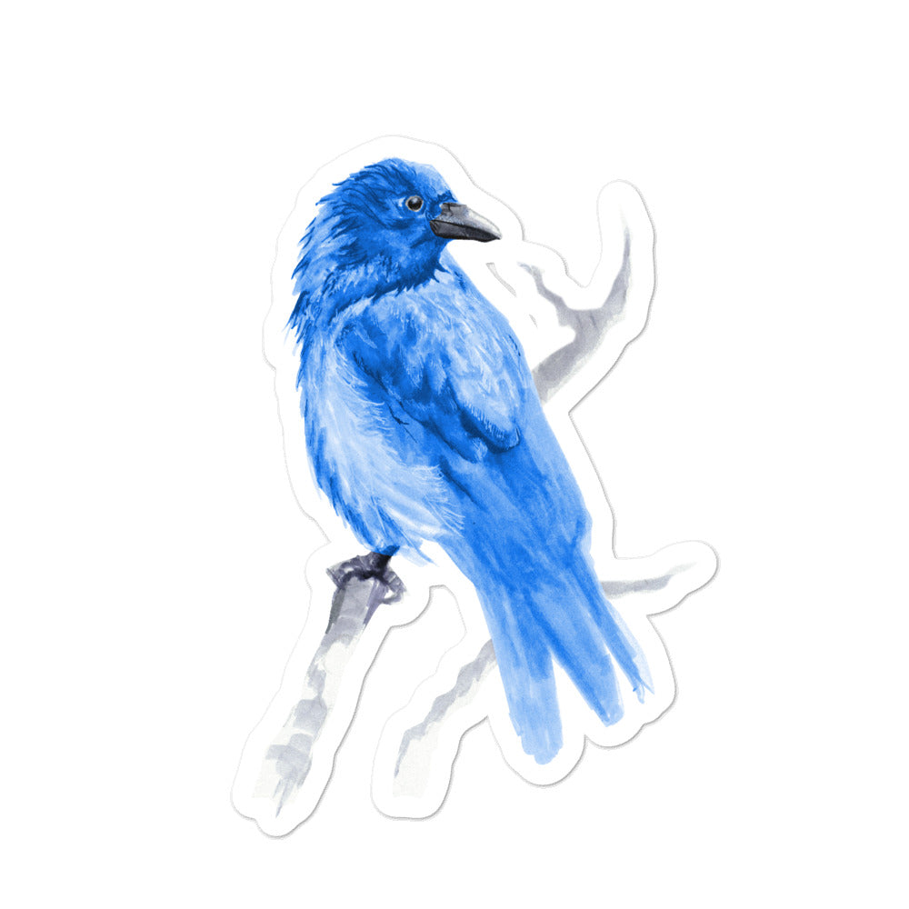 Corvid Gray Bird Perched - Bubble-Free Stickers
