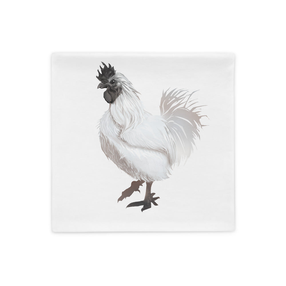 Rooster Strut (White) - Pillow Case