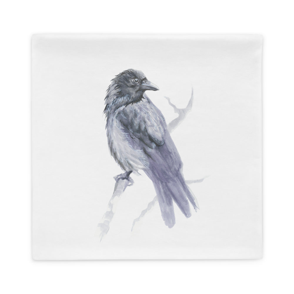 Corvid Gray Bird Perched - Pillow Case