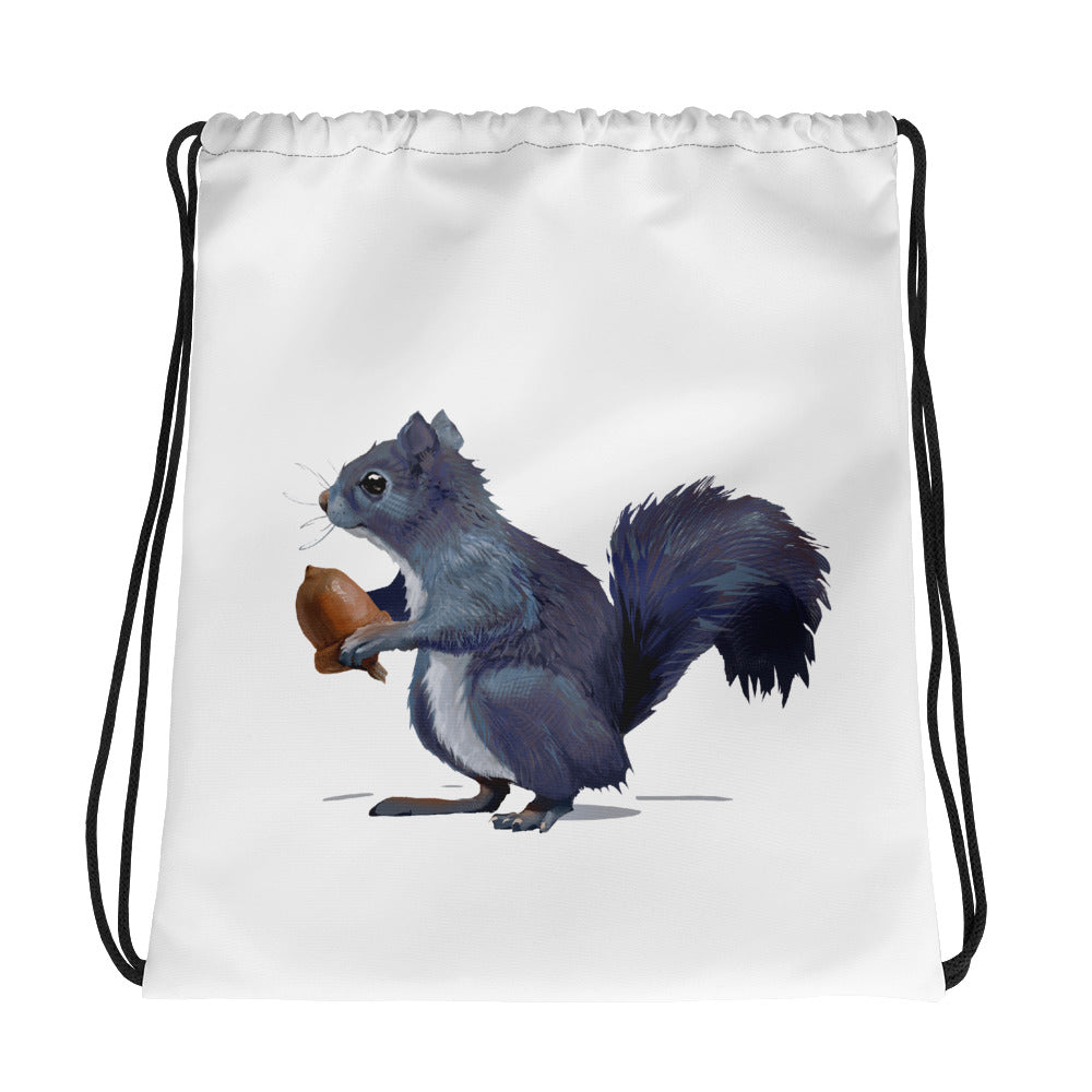 Squirrel (Gray) - Drawstring Bag