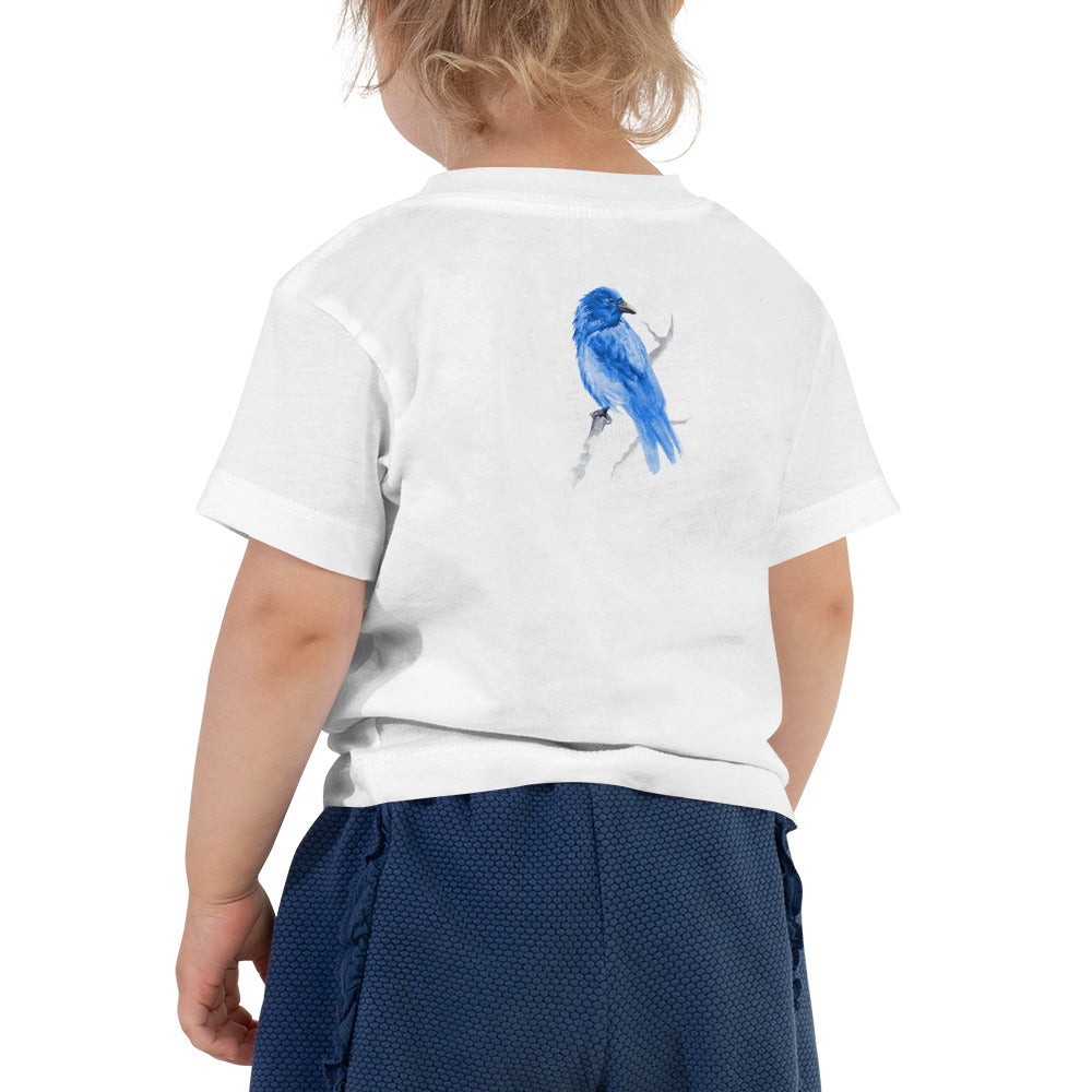 Corvid Blue Bird Perched - Toddler Short Sleeve Tee