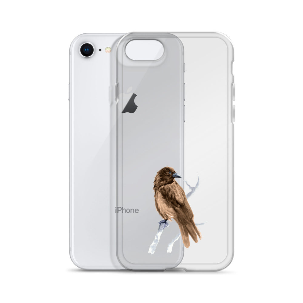 Corvid Brown Bird Perched - iPhone Case
