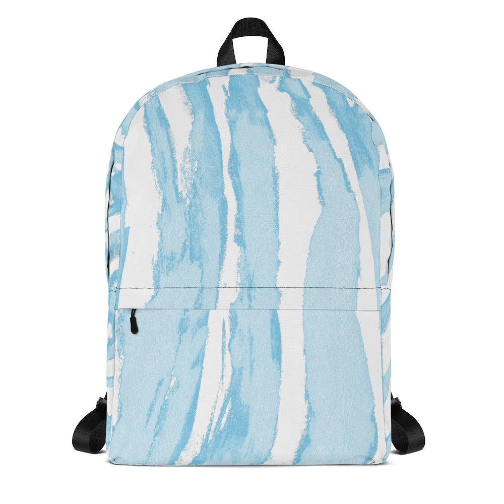 Zebra Stripes Blue and White - Backpack