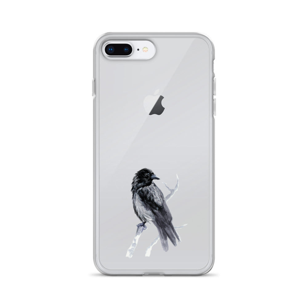 Corvid Black Bird Perched - iPhone Case