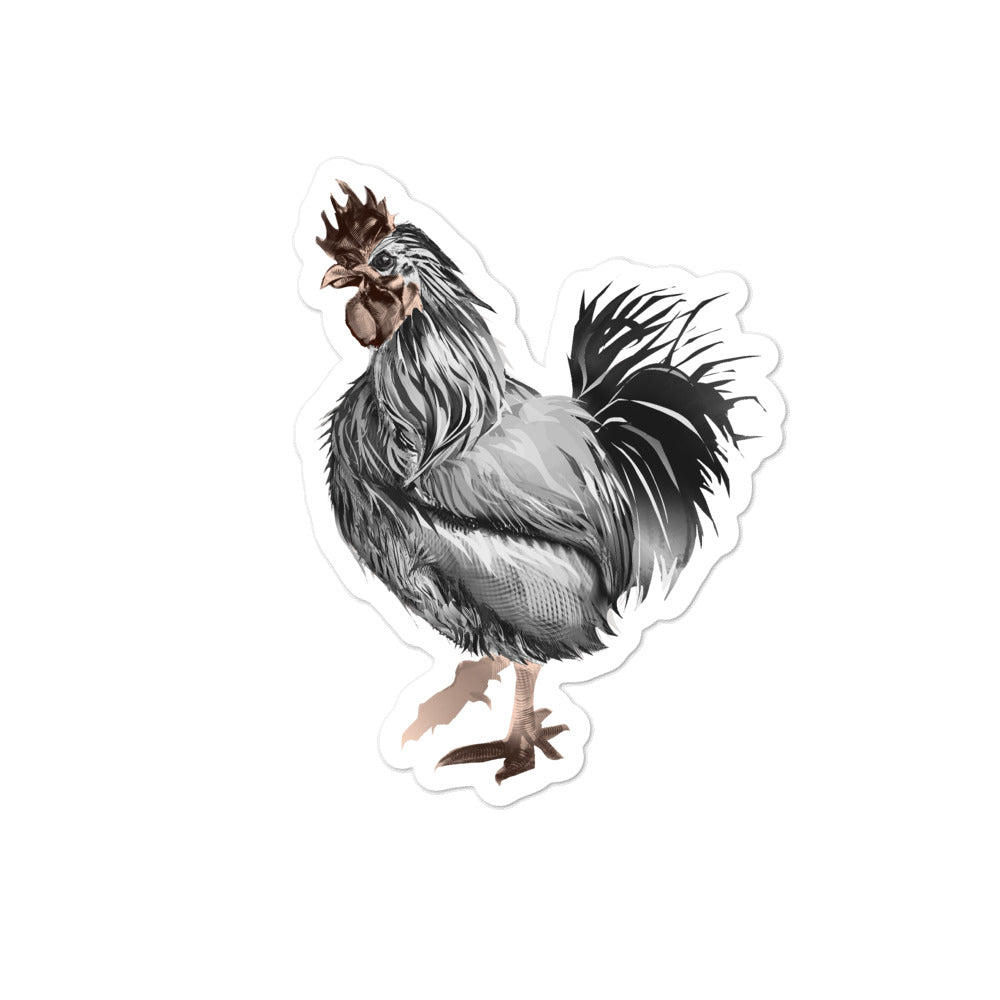 Rooster Strut (Silver) - Bubble-Free Stickers