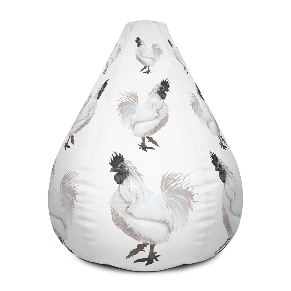 Rooster Strut (White) - Bean Bag Chair w/ filling