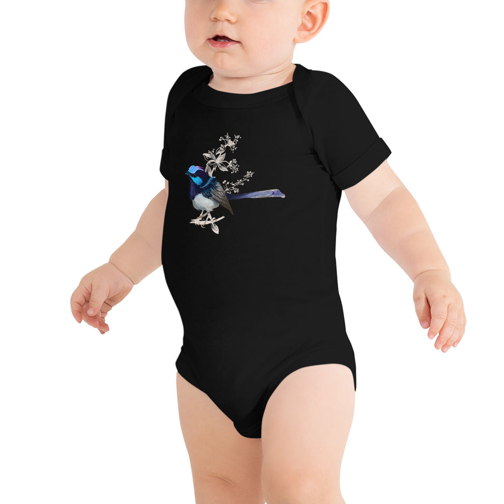 Forest Wren Blue Bird - Baby Short Sleeve One Piece