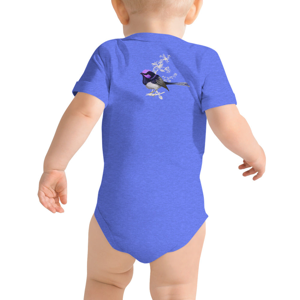 Forest Wren Magenta Bird - Baby Short Sleeve One Piece