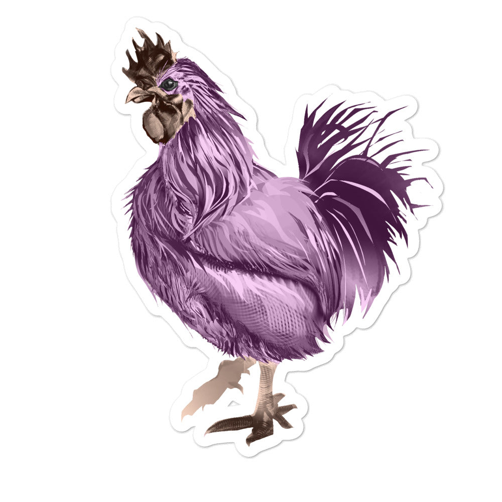 Rooster Strut (Pink) - Bubble-Free Stickers