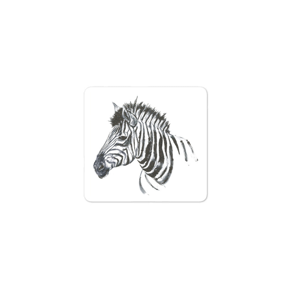 Zebra Ink Brush Painting - Bubble-Free Stickers
