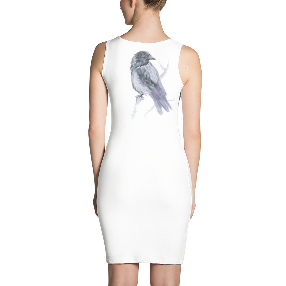 Corvid Gray Bird Perched - Sublimation Cut & Sew Dress