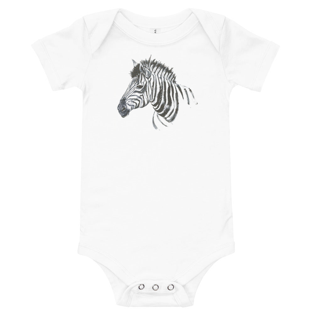Zebra Ink Brush Painting - Baby Short Sleeve One Piece