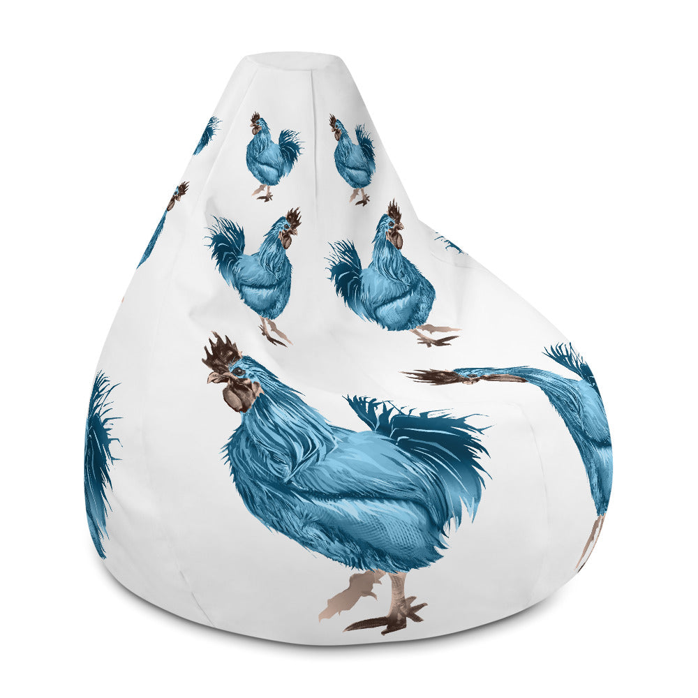 Rooster Strut (Blue) - Bean Bag Chair Cover