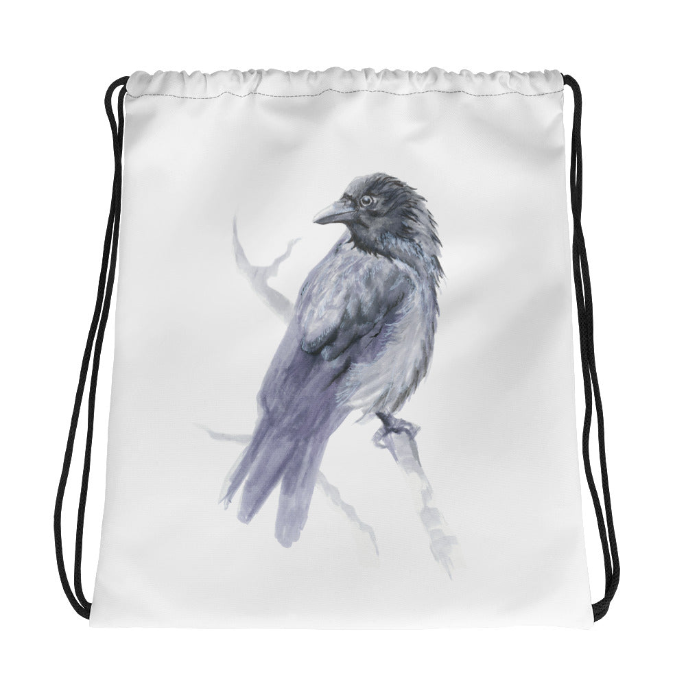 Corvid Gray Bird Perched - Drawstring Bag