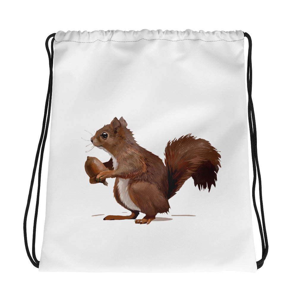Squirrel (Brown) - Drawstring Bag