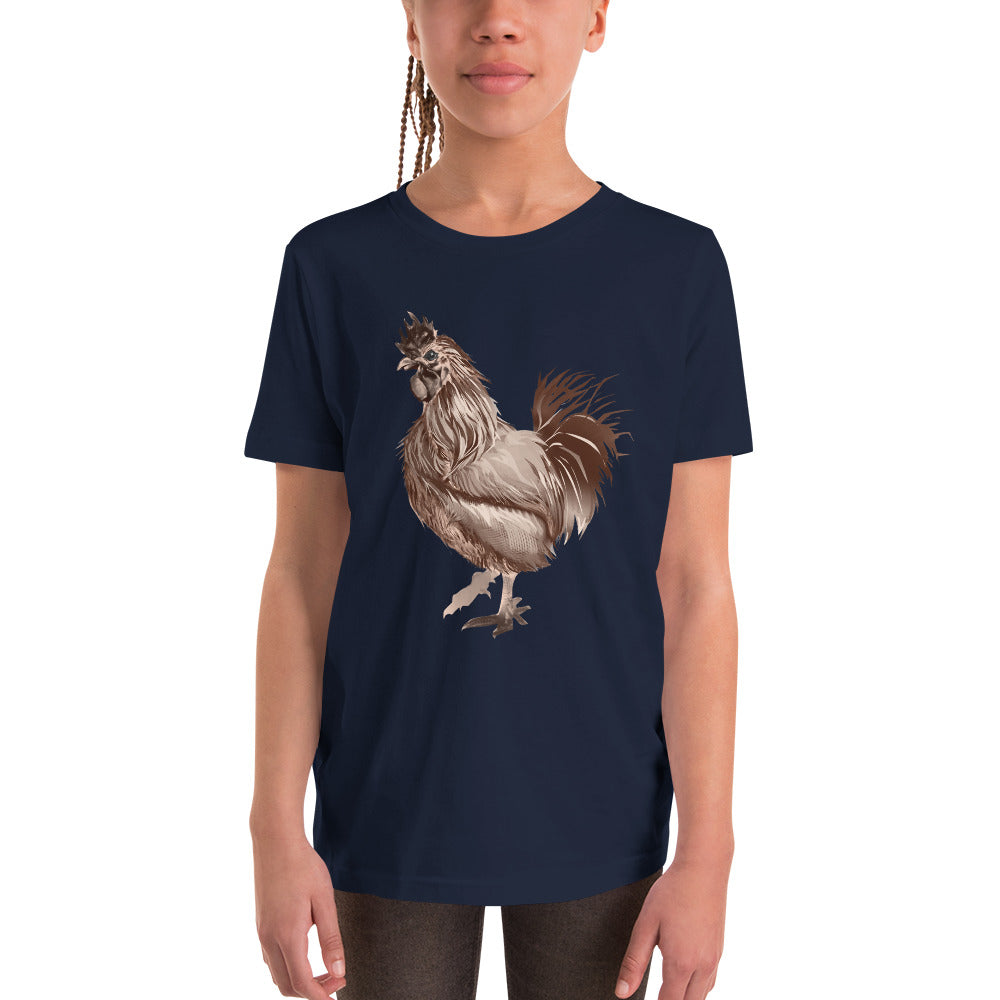 Rooster Strut (Brown) - Youth Short Sleeve T-Shirt