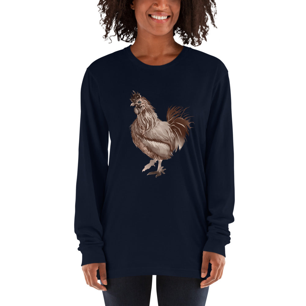 Rooster Strut (Brown) - Long sleeve t-shirt