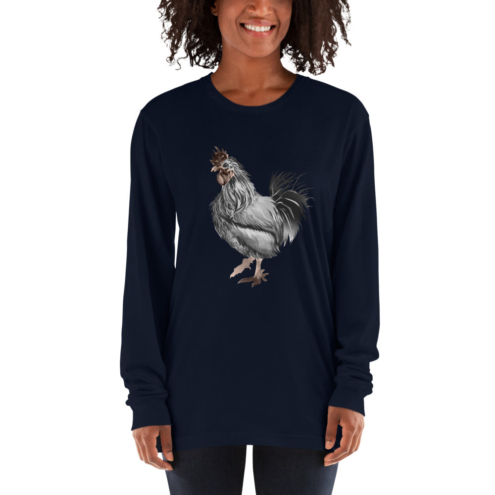 Rooster Strut (Silver) - Long sleeve t-shirt