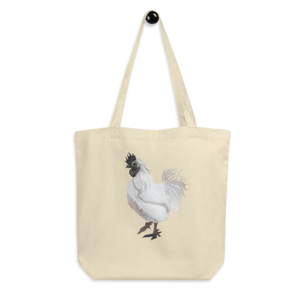 Rooster Strut (White) - Eco Tote Bag