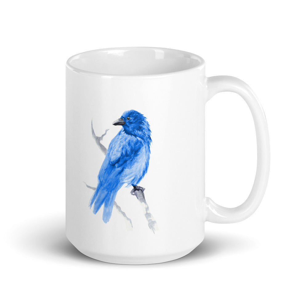 Corvid Blue Bird Perched - Mug