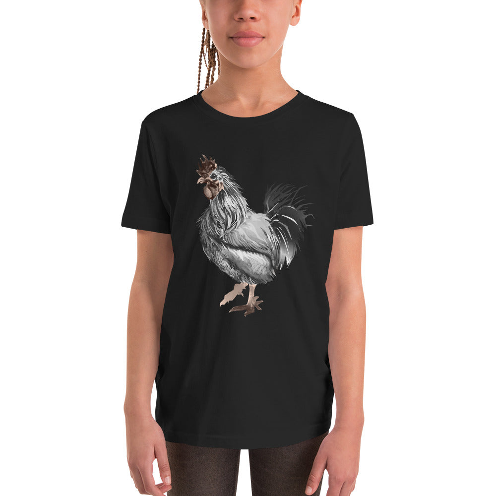 Rooster Strut (Silver) - Youth Short Sleeve T-Shirt