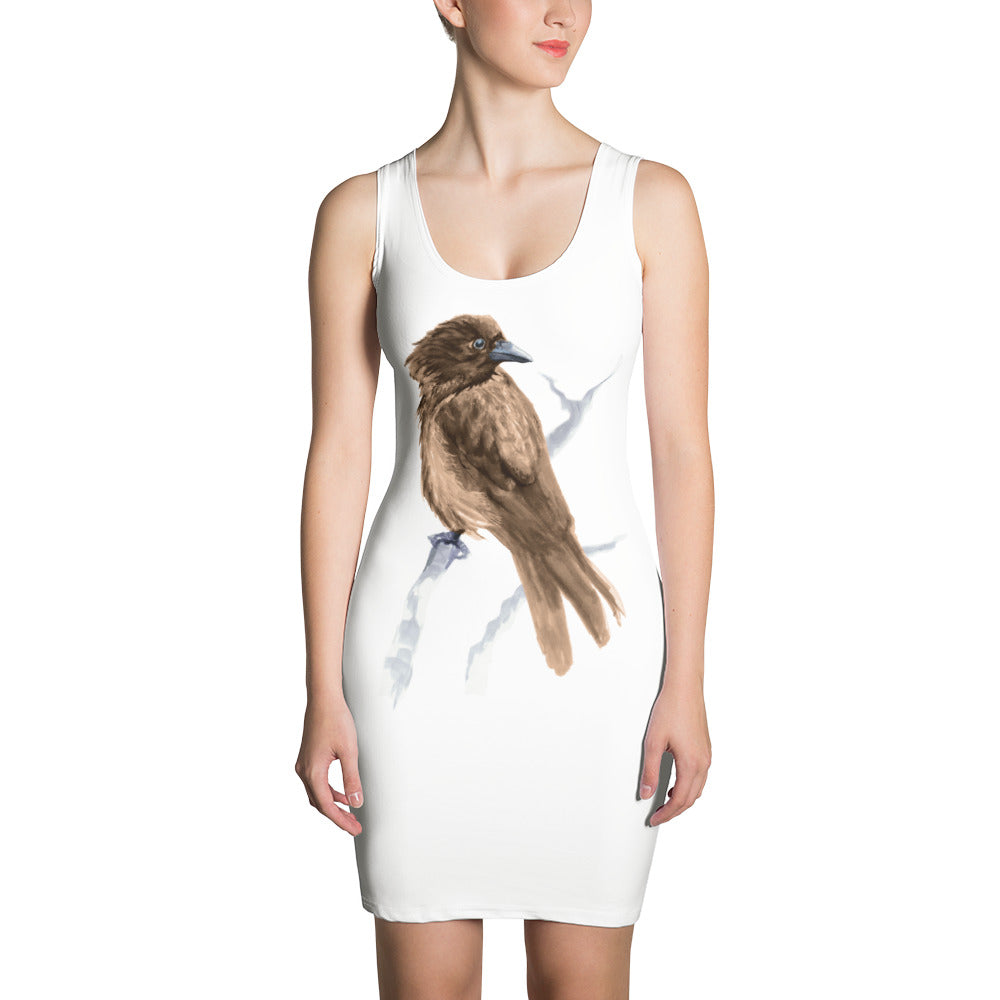 Corvid Brown Bird Perched - Sublimation Cut & Sew Dress